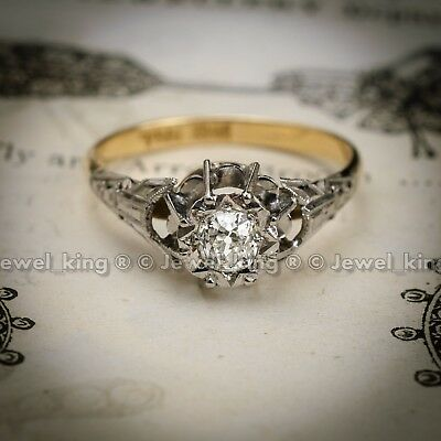 Antique Floralesque Art Deco Vintage Bride Engagement Wedding Ring Circa 1920s