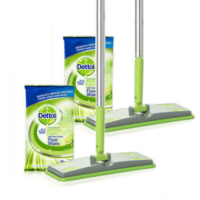 2x Dettol Floor Cleaning System Kit/Antibacterial Wet 15x Wipes/Pads & 1x Mop