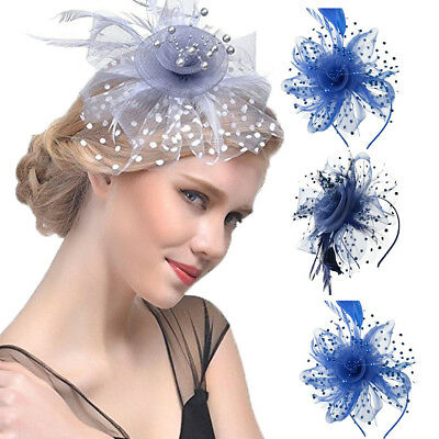 Mini Masquerade Burlesque Mesh Feather Rose Flower Hats Animal Print Solid Color