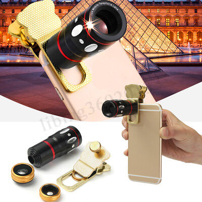 Smart Phone Camera Lens Universal 4in1 Clip On Kit Wide Angle Fish Eye Macro