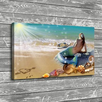 Mermaid Sunny Beach Painting HD Print on Canvas Home Decor Room Wall Art Picture