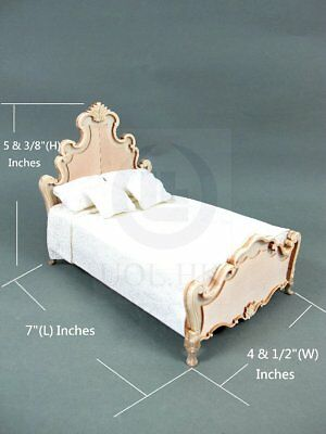 """Wooden 1:12 Scale Miniature The """"Escala """"King Bed For Doll House [Unfinished]"""