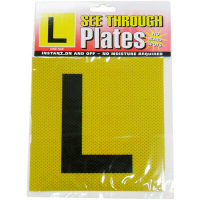 2 x Yellow Learners L Plate See Through Car Window Signs - Vic Tas WA plates