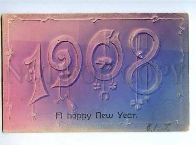 178579 USA HAPPY NEW YEAR 1908 Pig convex Champagne embossed