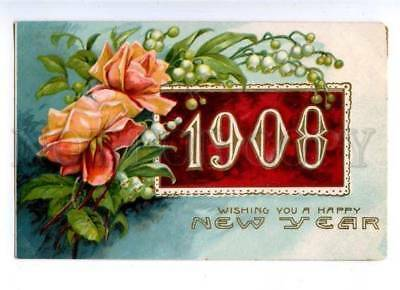 178582 USA HAPPY NEW YEAR 1908 roses embossed