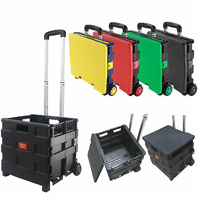 Portable Folding Shopping Cart Collapsible Trolley Luggage Cart Plastic With Lid