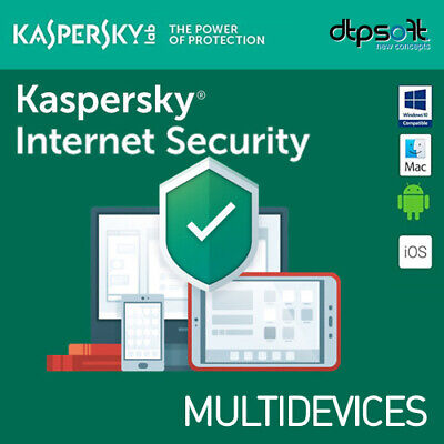 Kaspersky Internet Securit 2019 3 Dispositivos 1 año 3 Pc MAC ANDROID 2018 EU ES