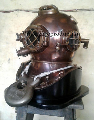 "18/"" Divers Helmet Rosewood Wooden Base U.S Navy Mark V Diving Helmet Base Gift"