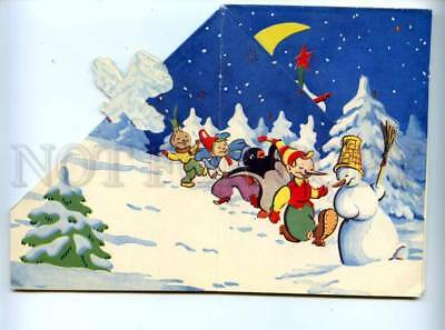141994 Santa Claus Father Frost on Sled CARNIVAL old FOLDED