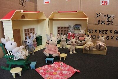 Sylvanian Families - Rabbit Figure Bundle With House And Furniture