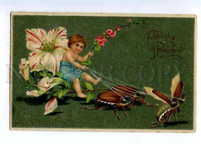 161086 Pentecost ELF Fairy MAY BEETLE Bug Vintage Embossed PC