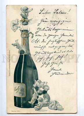 187320 X-MAS Christmas ANGEL in CHAMPAGNE Vintage PC