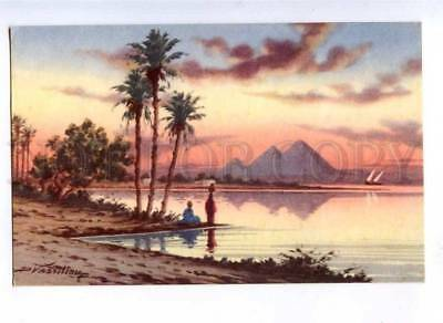 190719 EGYPT Sunset at Pyramids by Vassiliou Vintage postcard