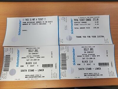 2 Billy Joel Tickets - Dublin June 23rd 2018