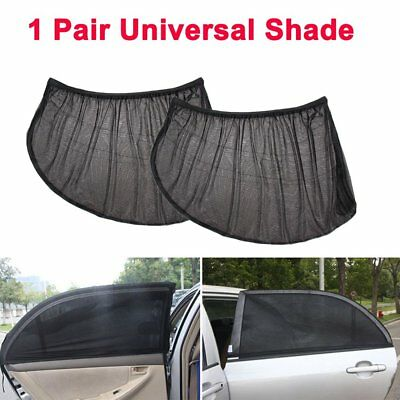 2PC Car Side Front Rear Window Sun Shade Mesh Cover Shield Sunshade UV Protector