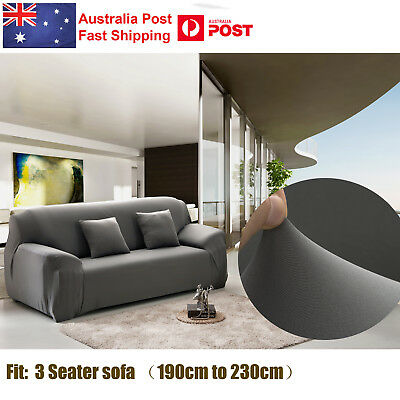 3 Seater Home Soft Elastic Sofa Cover Easy Stretch Slipcover Protect Couch Grey