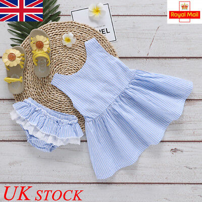 UK Baby Girls Summer Dress Skirt Toddler Romper Newborn Kids Clothes Outfits Top
