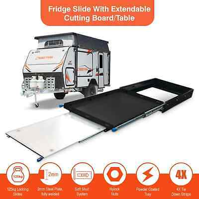125Kg Fridge Slide With Extendable Table / Cutting Board 4wd Caravan Camping