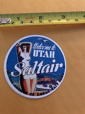 Vintage Style WELCOME TO UTAH SALTAIR  Luggage Label Sticker/decal