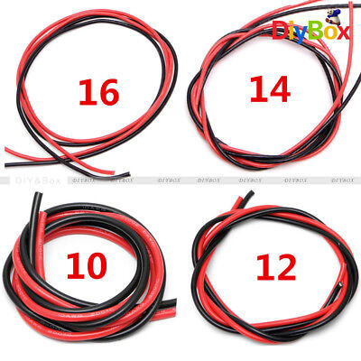 10/12/14/16 AWG Gauge Wire Flexible Silicone Copper Cables for RC Black Red 2M
