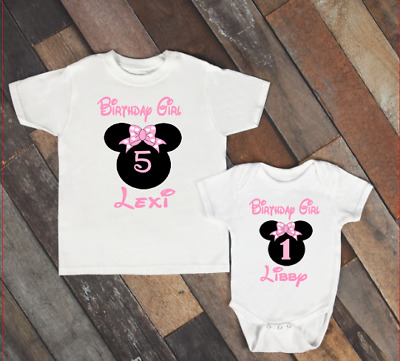 f393ca2ac Pink Minnie Mouse Personalised Children's Birthday T-shirt/ Baby /Kids  /Toddler