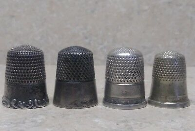 4 Antique Thimbles 3 Sterling Silver Simons Brothers Company thimble lot plus 1