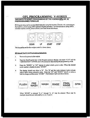 Dexter  Commercial  Washers  Programming  Manual  For  V-Series