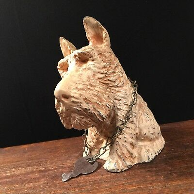 Vtg Scotty Dog Metal Coin Bank w Key Highland Scottish Terrier PRIORITY MAIL