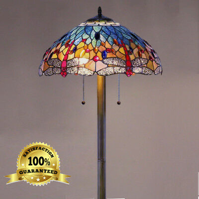 Tiffany Style Lamp Dragonfly Floor Handmade Stained Gl