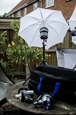 4 x Interfit EX150 Heads and stands + Umbrella's, cables & softbox's