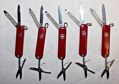 Lot of 5 Complete Victorinox Classic SD Swiss Army Knives - All Red -No Logo