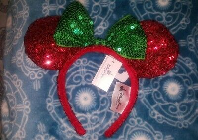 Authentic Disney Parks Christmas Minnie Mouse Ear Red Headband w/Green Bow.