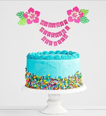 PERSONALISED MOANA Tropical Flower Hibiscus Cake Topper/bunting/banner