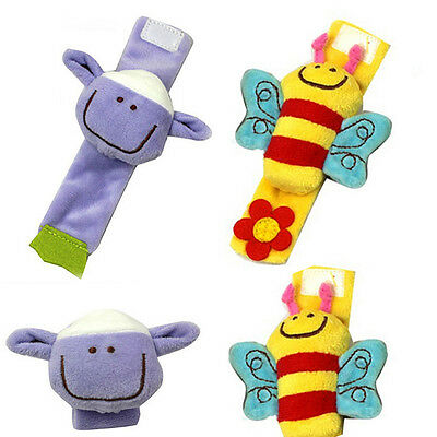 Attractive Lovely Soft Baby Wrist Rattle Toy Hands Finder Bee & Sheep FBUK