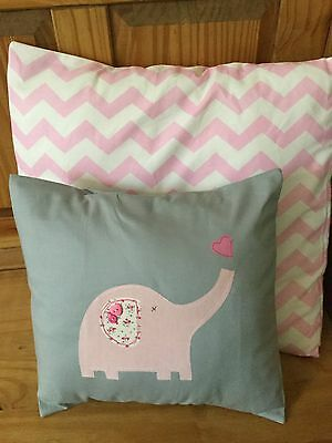 HANDMADE GREY PINK ELEPHANT NURSERY CUSHION COVERS floralgirl modern chevron