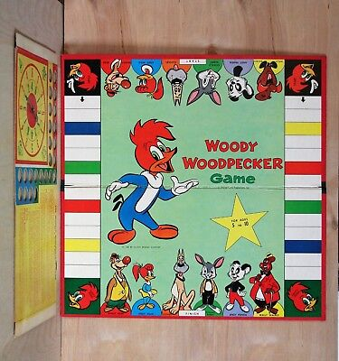 1958 Milton Bradley WOODY WOODPECKER Game Board with SPINNER Walter Lantz VG