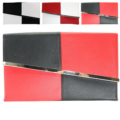 Womens Leather Asymmetric Clutch Purses Evening Bag Handbags For Wedding Party