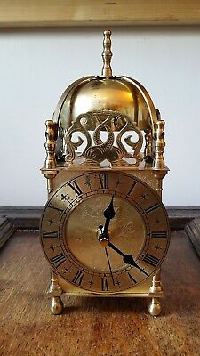 Vintage Large Brass Lantern Clock By Smiths Good Condition Perfect Working Order
