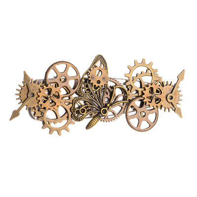 Vintage Steampunk Gear Butterfly Hair Clip Gothic Punk Hairpin Cosplay Headwear