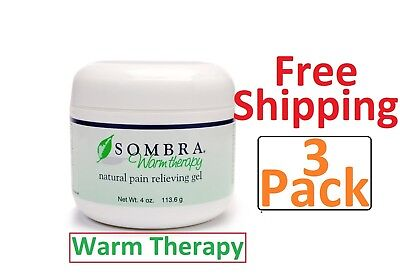 3 -4 oz.Jars of SOMBRA WARM THERAPY PAIN RELIEVING Gel( 3-pack ) (FREE SHIPPING)