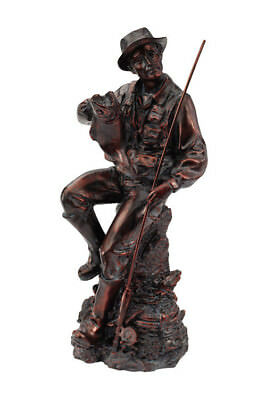 Bronze Fisherman Statue with Fishing Pole Salmon Hunting Lodge Cabin Man Cave