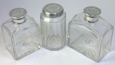Victorian Sterling Silver & Glass Vanity Jar & 2 Scent / Cologne Bottles - 1844