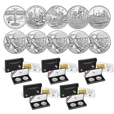 World War I Centennial 2018 Silver Dollar & Medal Set - All 5 Sets