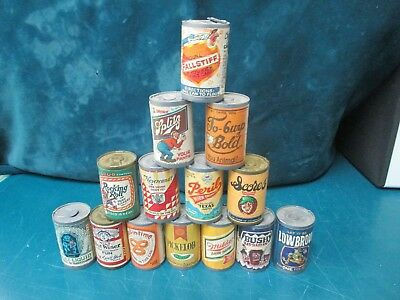 Vintage Crazy Chug A Can Candy Beer Container Lot 14 Pc. Good Parody Labels