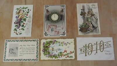 Nice Vintage Lot Of Six New Years Day Themed Postcards #4