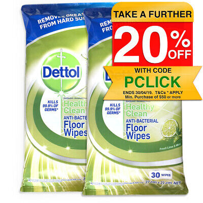 60PK Dettol Floor Cleaning Antibacterial Lime & Mint Wet Wipes/Pads for Mopping