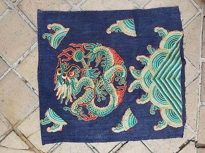 Antique Chinese Opera Robe Micro Embroidered Tibet Dragon Pillow Vintage Asian