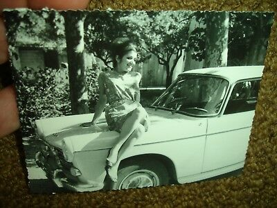 old 1950s white 404 Peugeot chrome Sedan car b&w snapshot auto photo Girl Model
