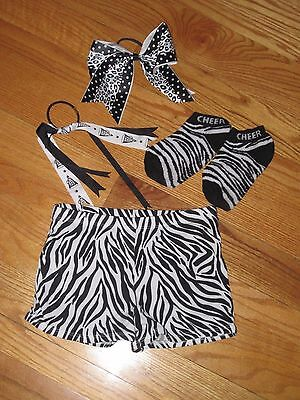 Girls zebra black and white Cheer accessories And Tote Bag