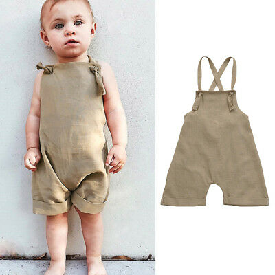 Toddler Kids Baby Boy Overall Harem Straps Romper Playsuit Clothes Solid Outfit
